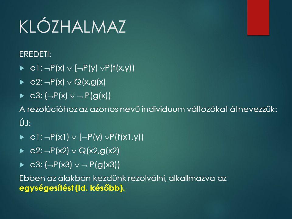 KLÓZHALMAZ EREDETI: c1: P(x)  [P(y) P(f(x,y)) c2: P(x)  Q(x,g(x)